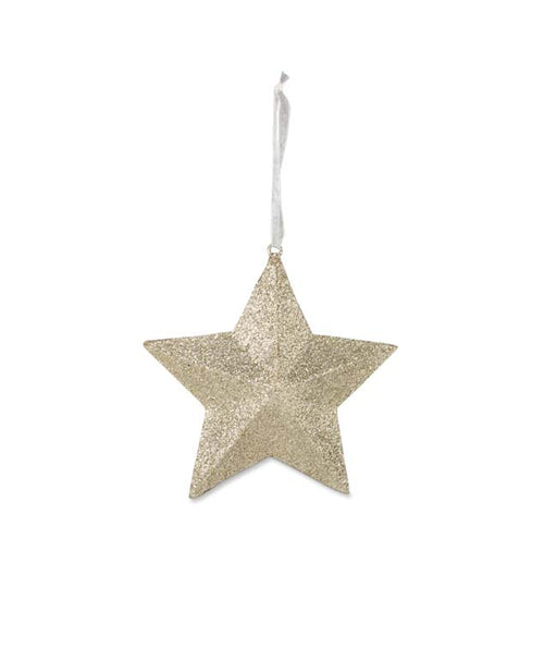 Platinum Glitter Star Ornament