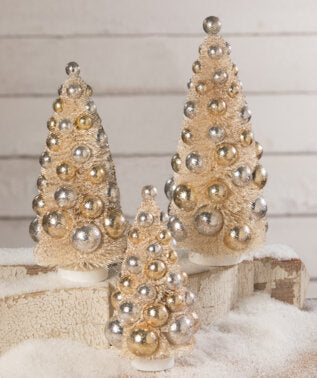 Silver & Gold Bottle Brush Tree Trio