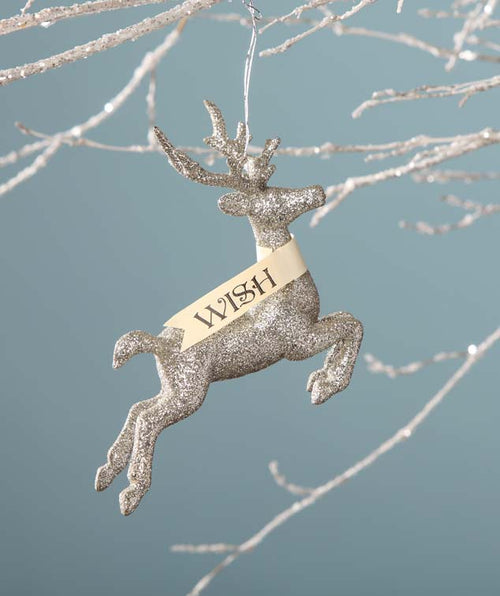 Platinum Glitter Stag Ornament