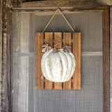 Embossed Metal Pumpkin Wooden Wall Decor