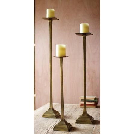 Kalalou Aluminum Candlestands - Set Of 3