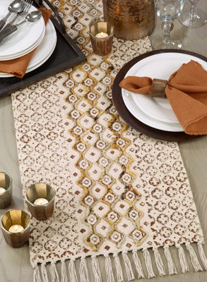 Embroidered Block Print Table Runner