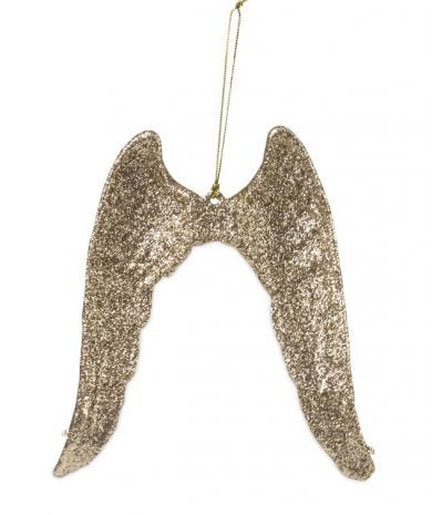 Gold Glitter Angel Wings Ornament