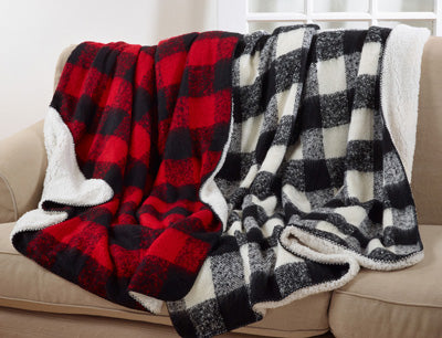 Faux Mohair Buffalo Plaid Throw