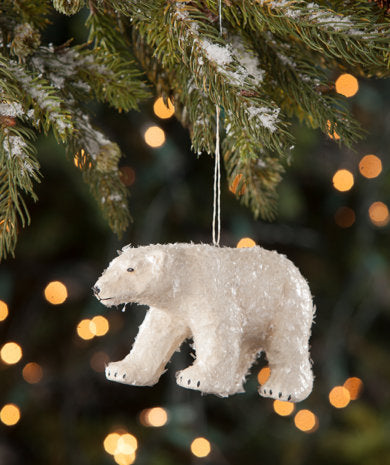 Snowy Polar Bear Ornament