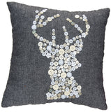 Grey & White Herringbone Pillow with Button Deer