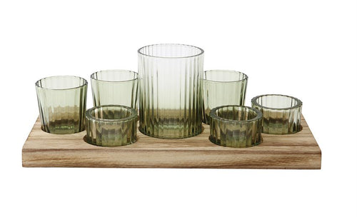 Green Glass Votive Tray