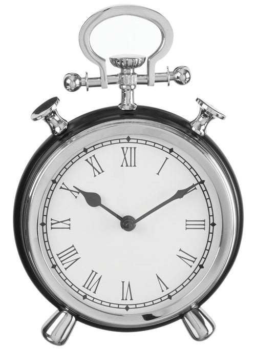 "10"" Chrome & Black Table Clock"