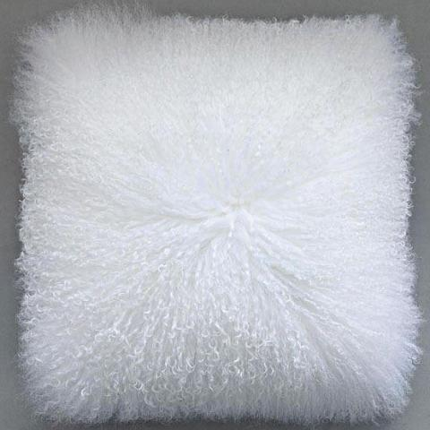 White Mongolian Lamb Fur Pillow