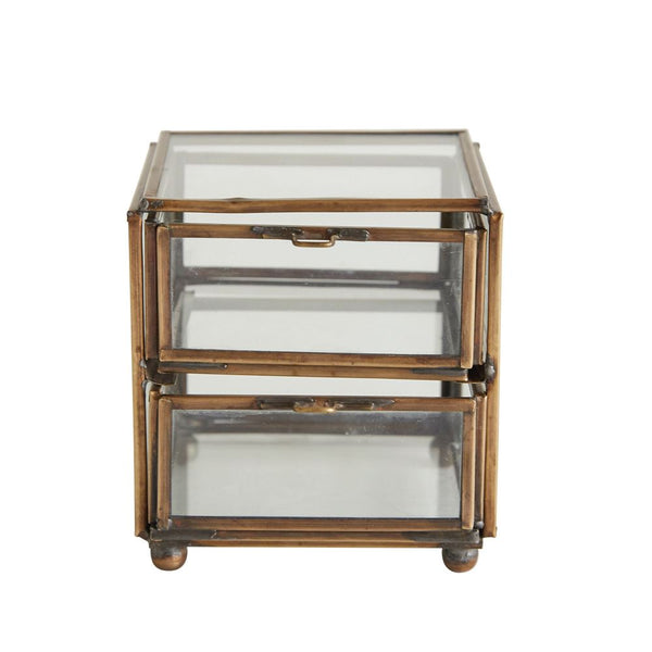 Glass & Brass Two Drawer Box