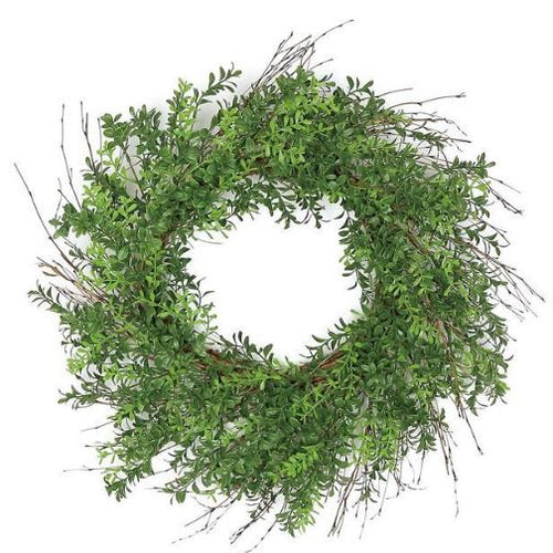 Twig & Boxwood Wreath - 24""
