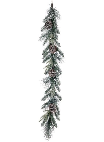 Flocked Pine w/Cones Garland 5'