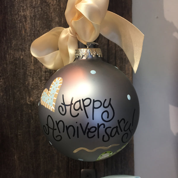 Happy Anniversary Glass Ornament