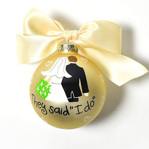 "Bride And Groom ""I Do"" Glass Ornament"