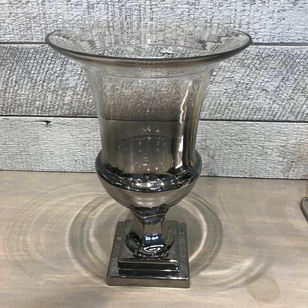 Silver & Glass Footed Urn