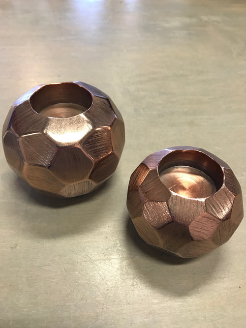 Copper Faceted Votive Holder