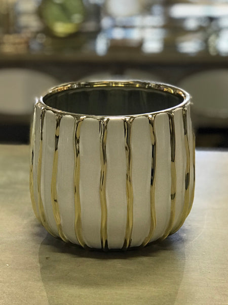 White and Gold Lined Ceramic Pot