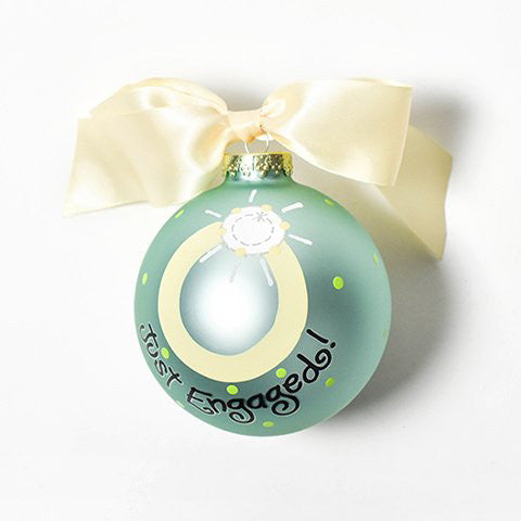 Just Engaged Bling Glass Ornament
