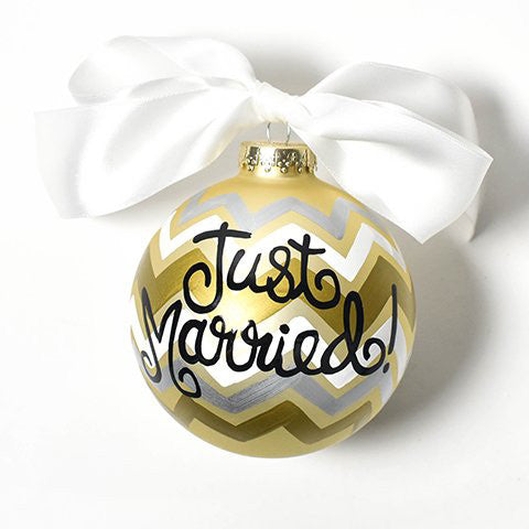 Metallic Bargello Just Married Glass Ornament