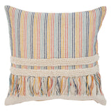 Boho Striped Fringe Pillow