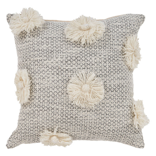 Ivory & Gray Pom Pillow