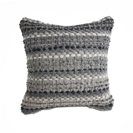Black & Gray Fabric Striped Pillow