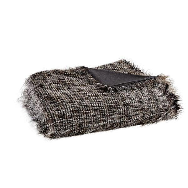 Black, White, & Grey Striped Faux Fur Throw