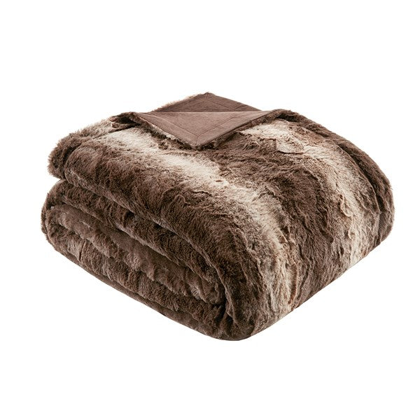 Zuri Faux Fur Oversized Bed Throw - Chocolate