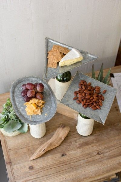 BOTTLE TOPPER ZINC SERVING TRAYS W/BEADED DETAIL