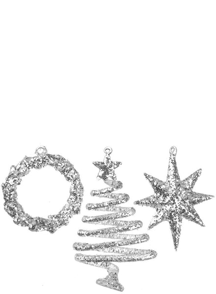 Silver Glitter Holiday Ornaments