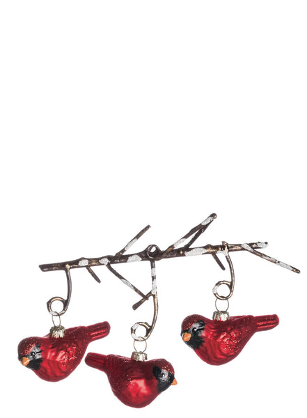 3 Cardinal's on a Branch Ornament