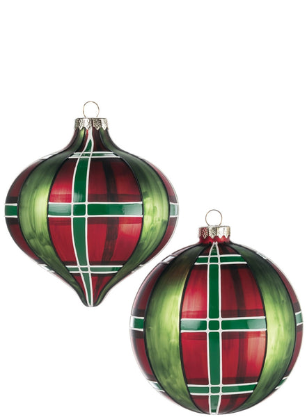 Red & Green Plaid Glass ornament