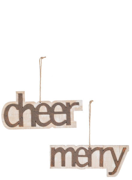 Wooden Merry/Cheer Ornament