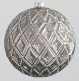Silver Textured Glass Ball Ornaments