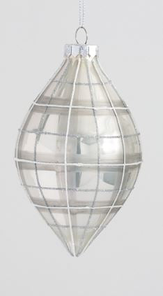 Silver Plaid Glass Ornaments
