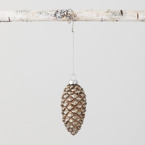 Glittered Glass Pinecone Ornament