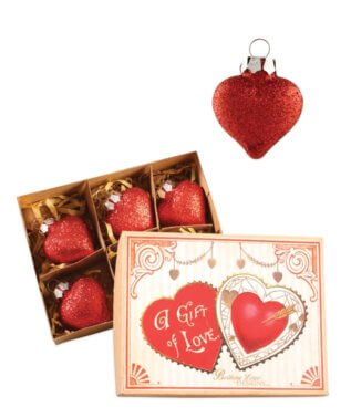 Red Glass Heart Ornament Set