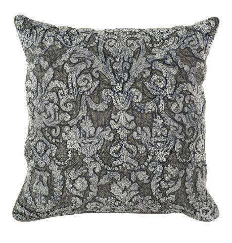 Empress Charcoal Embroidered Pillow