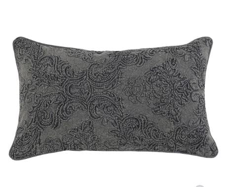 Perlita Charcoal Embroidered Pillow