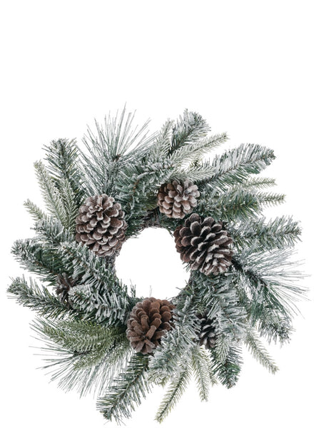 Flocked Pine w/Cones Wreath