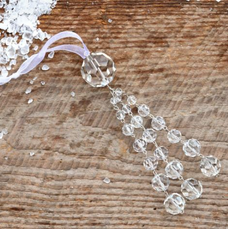 Faceted Crystal Tassel Ornament - Clear