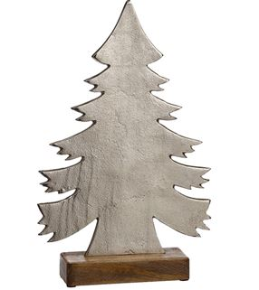 Aluminum Christmas Tree with Wood Base