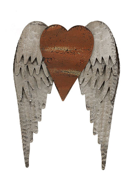 Metal Heart with Wings Wall Decor