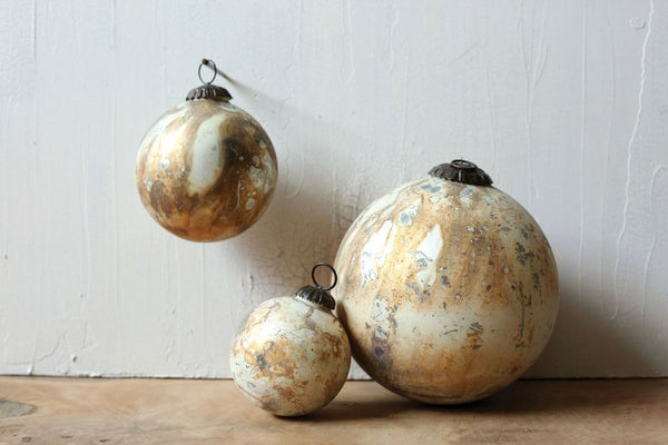 Marble Design Round Glass Ornament