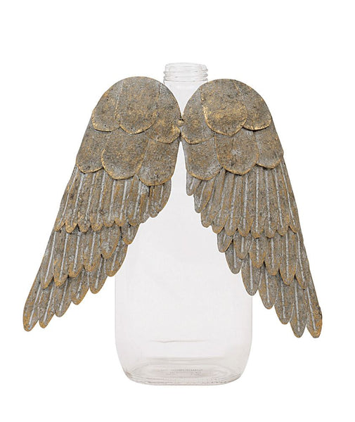 Glass Bottle with Angel Wings
