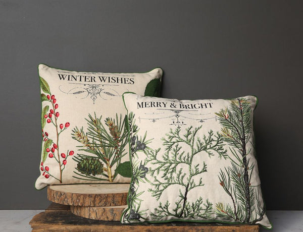 Winter Botanical Throw Pillow
