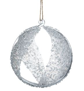 Clear Striped Glass Ball Ornament