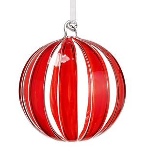 Red/Clear Striped Glass Ball Ornament