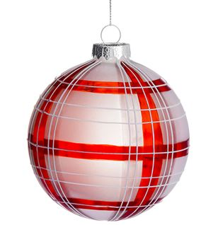 Frosted Plaid Ball Ornament