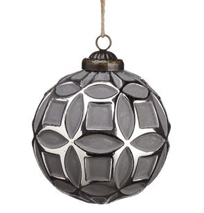 Grey & Silver Geometric Ball Ornament